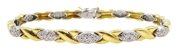 18ct white and yellow gold diamond set bracelet, stamped 750