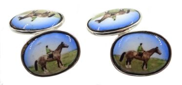 Silver enamelled horse cufflinks, stamped 925