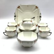 Shelley Red Daisy pattern tea set for four, pattern no. 11497 (15)