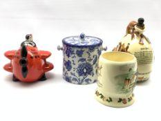 Carlton ware 'Red Baron' novelty teapot, Fieldings Crown Devon 'John Peel' flask , Crown Devon 'Dais