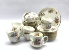 Royal Worcester Roanoke pattern tea set comprising twelve cups and saucers, twelve plates, two bread