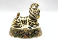 Royal Crown Derby 'Zebra' paperweight with gold stopper
