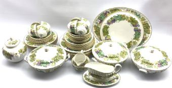 Royal Worcester 'Vine Harvest' pattern table service comprising eight dinner plates, eight dessert p