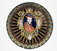 Limoges enamel style porcelain plate, hand-painted with a titled portrait of Charles de Guise after