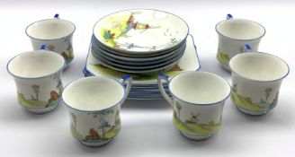 Art Deco Foley china tea set for six, printed and hand painted with a Windmill in a landscape no. 70
