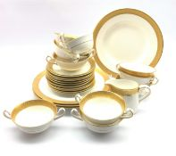Nine Royal Crown Derby St George pattern two handled soup bowls, eleven saucers, four dinner plates,