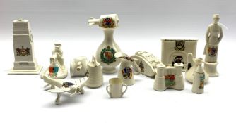 Collection of WW1 crested ware including Cenotaph, tank, aeroplane, machine gunner, Mills bomb etc b