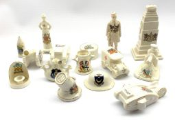 Quantity of WW1 crested ware including Cenotaph, searchlight, nurse, two tanks, ambulance etc by var