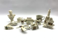 Quantity of WW1 crested ware including Lusitania, Listening In, Blighty, aeroplane etc by various ma