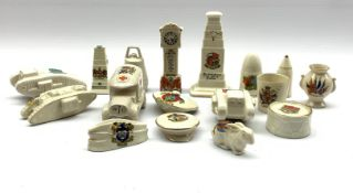 Quantity of WW1 crested ware including Peace clock, ambulance, three tanks etc by various makers in