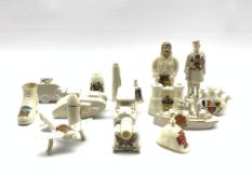 Quantity of WW1 crested ware including Old Bill, battleship, tank, ambulance, aeroplane etc by vario