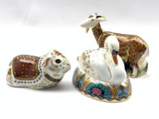 Royal Crown Derby 'Nanny Goat' paperweight, exclusive from the Derby visitors centre, another 'Swan'