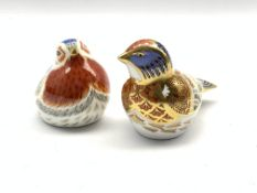 Royal Crown Derby 'Anniversary Robin' paperweight, collectors guild exclusive, and another of a linn