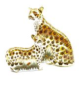 Royal Crown Derby 'Leopardess' paperweight and another 'Leopard Cub', both boxed and with gold stopp
