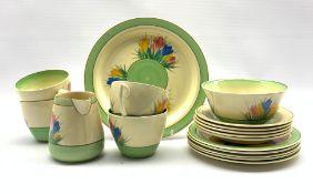 Clarice Cliff Crocus pattern tea set comprising four teacups, five saucers, five tea plates, side pl