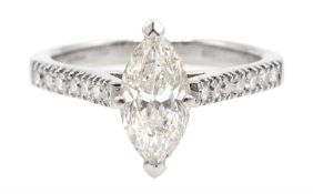 18ct white gold marquise cut diamond ring, with diamond set shoulders, total diamond weight approx 1