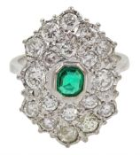 White gold Zambian emerald and diamond cluster ring, stamped 18ct, total diamond weight approx 3.30