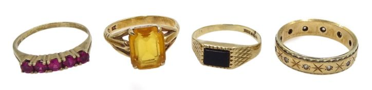 Gold citrine ring, gold onyx ring and a cubic zirconia eternity ring, all 9ct hallmarked or stamped