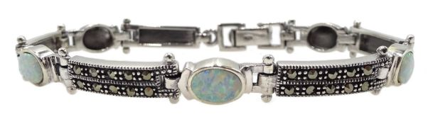 Silver opal and marcasite link bracelet, stamped 925