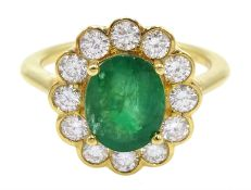18ct gold oval emerald and diamond cluster ring, hallmarked, emerald approx 1.60 carat, diamond tota