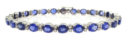 18ct white gold oval sapphire and round brilliant cut diamond bracelet, stamped 750, total sapphire