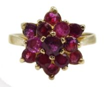 9ct gold ruby cluster ring, hallmarked