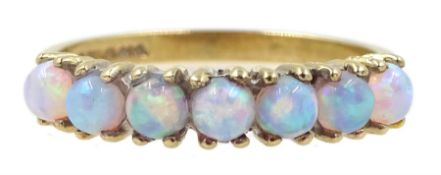 9ct gold seven stone opal ring, hallmarked