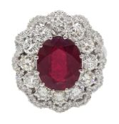 White gold oval ruby and round brilliant cut diamond ring, stamped 14K, ruby approx 5.70 carat, tota