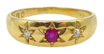 Victorian 18ct gold ruby and diamond gypsy ring, hallmarked