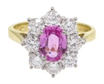 18ct gold pink sapphire and diamond cluster ring, hallmarked, sapphire approx 0.90 carat, total diam