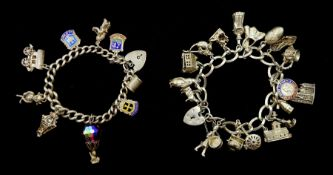 Two silver charm bracelets with various charms including carriage, building, wishing well etc, hallm