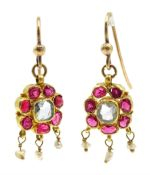 Pair of Indian gold aquamarine and ruby pendant earrings