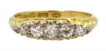 Early 20th century five stone diamond ring, stamped 18ct