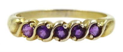 Silver-gilt five stone amethyst ring, stamped sil