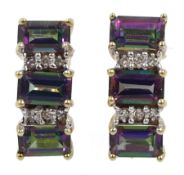 Pair of 9ct gold mystic topaz and diamond earrings, stamped 375