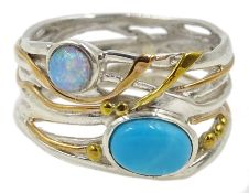 Silver and 14ct gold wire opal and turquoise ring, stamped 925
