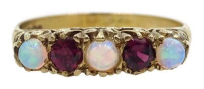 9ct gold five stone opal and garnet ring, hallmarked