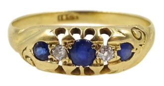 Edwardian gold sapphire and diamond ring, stamped 18ct