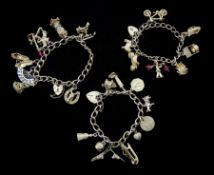 Three silver charm bracelets with various charms including bicycle, Viking ship, clock etc, stamped