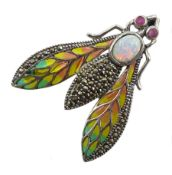Silver plique-a- jour, ruby, opal and marcasite bug brooch, stamped 925