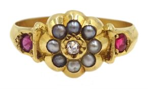 Victorian 18ct gold diamond, seed pearl, ruby and paste ring, Birmingham 1895