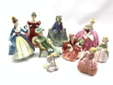 Nine Royal Doulton figures including Winsome, Victoria, Leading Lady, Ascot, Sweet Anne, Penny, Lydi