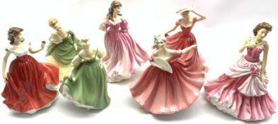 Seven Royal Doulton figures including Elaine, Lauren, Ellen, Soiree, Fair Lady, Marianne and A Lovin