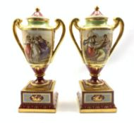 Pair of 'Vienna' two handled baluster vases with covers and stands decorated with classical figures
