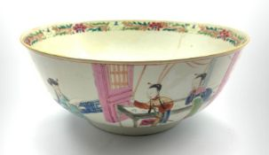 18th/19th century Chinese punch bowl, the exterior depicting various figures within interior or vera