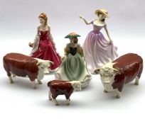 Beswick Hereford Cattle 'CH of Champions' comprising Bull, Cow and calf (a/f) together with two Roya