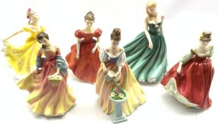 Six Royal Doulton figures including Ninette, Fair Lady (Red), Alexandra, Sarah, Winsome and Summer S
