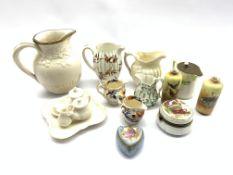 Dolls Parian ware tea set, six pieces, Victorian Parian 'Society of Art prize jug', small Parian jug