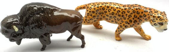 Beswick model of a Bison No. 1019 and another of a Leopard No. 1082