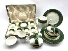 Cased set of Spode 'Green Velvet' pattern coffee cups and saucers, matching teapot, six cups & sauce